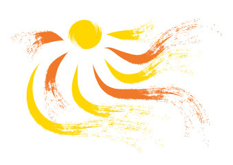 Sun and rays in brush stroke style illustration