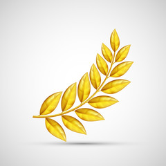 Icon gold olive branch. Symbol of victory and reward.