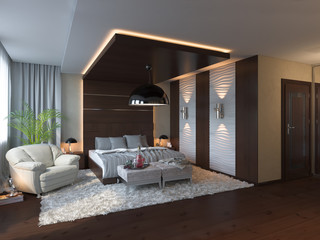 3d render of bedroom interior design in a contemporary style.