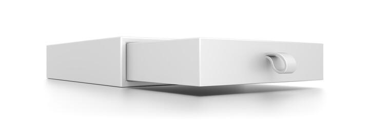 Closeup white drawer blank box isolated on white background.