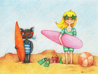 hand drawn picture of girl and cat, standing on a beach with surfboards by the pencils