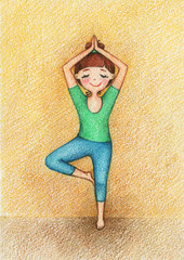 Picture of girl doing yoga by the pencils.