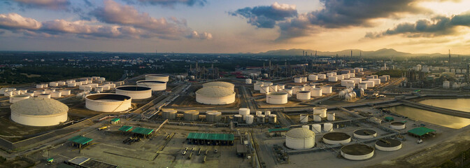 aerial view panorama view of oil refinery storage tank in heavy