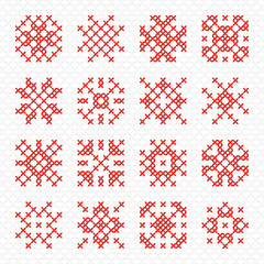 Set of geometric cross stitching element for embroidery design. Decorative blank for frames and patterns. Vector illustration.