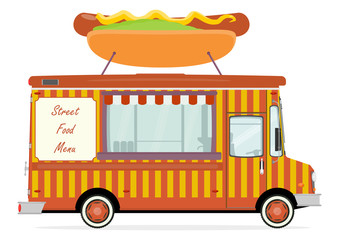Cartoon street food truck on a white background. Vector