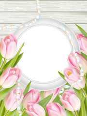 Tulips and blank white frame. EPS 10