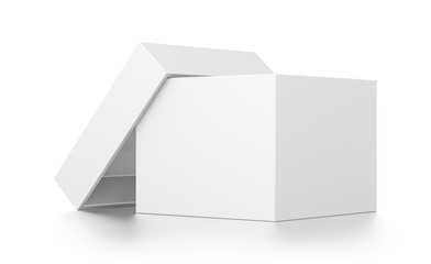 White open cube blank box with cover isolated on white background.