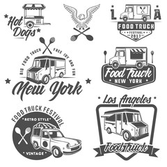 food truck emblems, badges and design elements