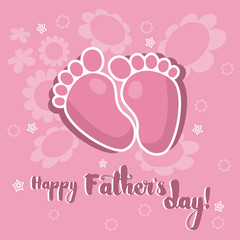 Baby footprints on a pink flowered background with the lettering Happy Fathers day