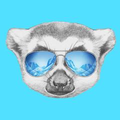 Portrait of Lemur with mirror sunglasses. Hand drawn illustration.