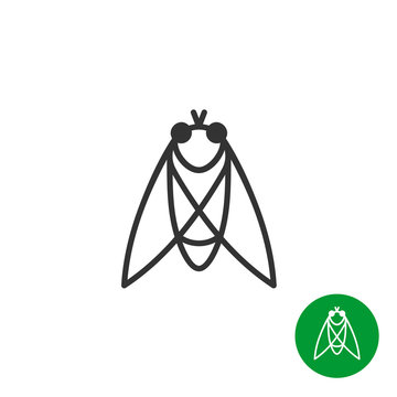 Cicada insect black outline icon. Line style fly logo.