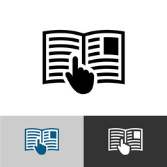 Instruction manual icon. Open book pages with text, images and h