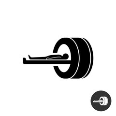 MRI icon. Simple black silhouette symbol of medical MRI procedur