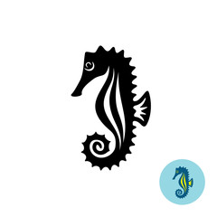 Sea horse elegance black silhouette logo with color version