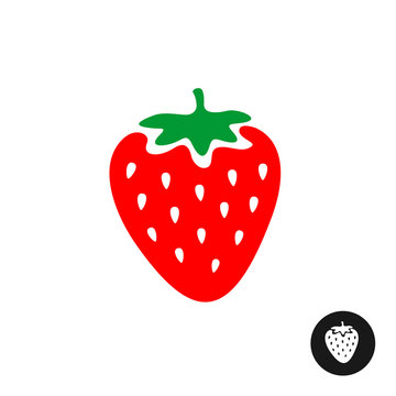 Strawberry vector cartoon illustration. Color symbol with white