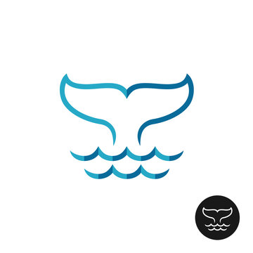 Whale tale logo with ocean waves. Blue flat colors style and bla