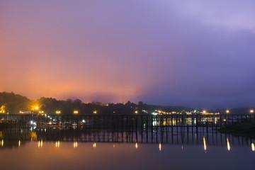 Complex Sky Colour in the Morning, Mon Bridge, Kanchanaburi Province, Thailand