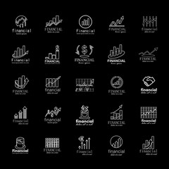 Financial Icons Set-Isolated On Black Background-Vector Illustration,Graphic Design.Collection Of Color And Abstract Icons.Different Logotype Shape.Modern Concept Logo