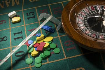 tavolo da roulette durante una partita