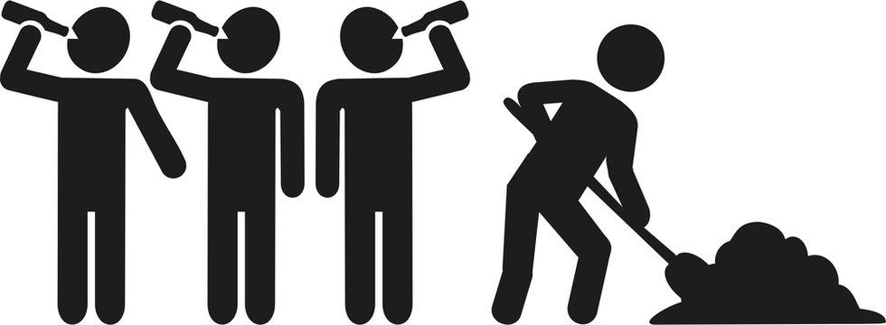 Teamwork: Four men drinking one working