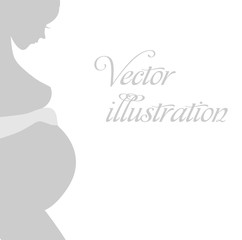 Vector silhouette of woman on colorful background