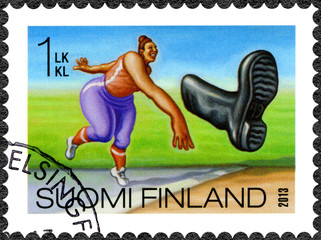 FINLAND - 2013: shows boot throwing, series Finnish Oddity
