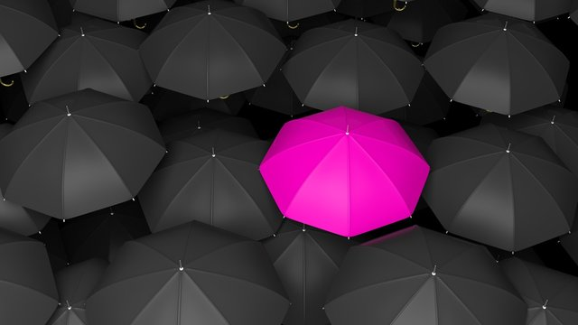 3D rendering of classic large black umbrellas tops with one pink standing out.