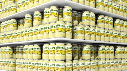 3D rendering with closeup on supermarket shelves with ice tea cans.