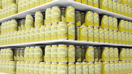 3D rendering with closeup on supermarket shelves with lemon drink cans.