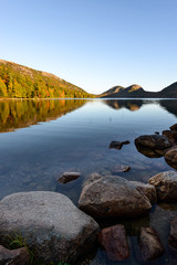 Wall Mural - Mountain Lake with Colorful Trees Reflected in Water