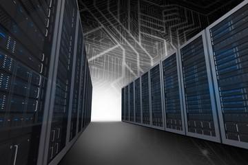 Composite image of server hallway