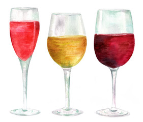 Three watercolor wine glasses (with rose, white and red wine)