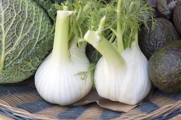 Fennel and Cabbage Vegetables in Basket