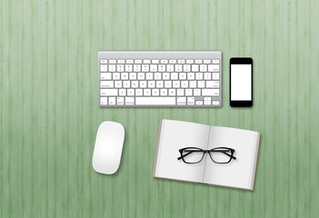 Office modern business mock up hero image with computer and smartphone, computer mouse and book with glasses. View from above