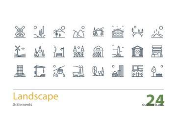 Landscape, Architecture outline icons. Stock vector.