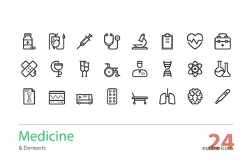 Medicine and Health. Outline icons set. Line art