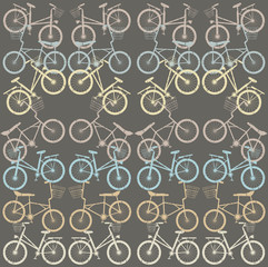 Pattern with retro bicycles