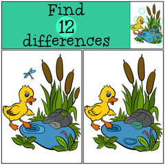 Poster Submarine Children games: Find differences. Little cute duckling is trying to enter to the pond.