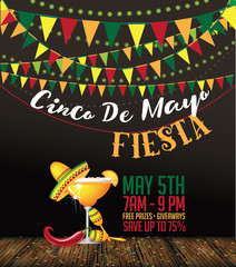 Cinco De Mayo bunting background. Cinco de Mayo ad, signage, card, invitation template. Colorful layout for Cinco de Mayo fiesta with copy space. EPS 10 vector royalty free stock illustration.