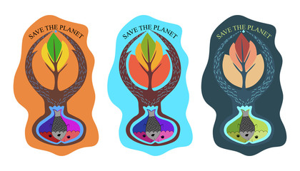"Original Illustration, vector, logo ""Save the planet"""