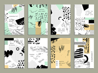 Hand drawn collection of artistic cards and  invitations