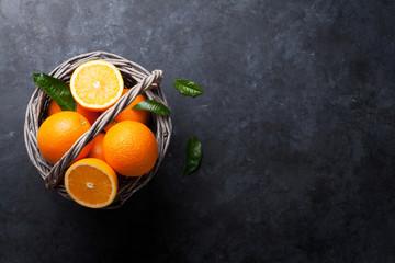 Fresh orange fruits basket