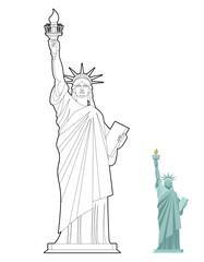 Statue of Liberty coloring book. Symbol of freedom and democracy
