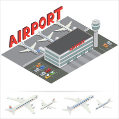 Isometric Airport Building. Airport Terminal with Planes. Travel by Airplane