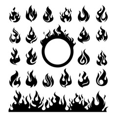 Fire Flame Abstract Silhouette Icon Set Package