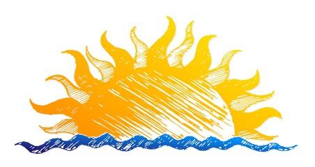 Sun dawn drawing in the sea.
