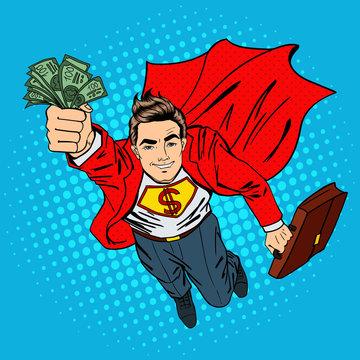 Super Businessman. Flying Businessman. Man with Money. Successful Businessman