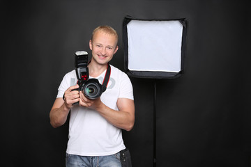 Photographer with equipment