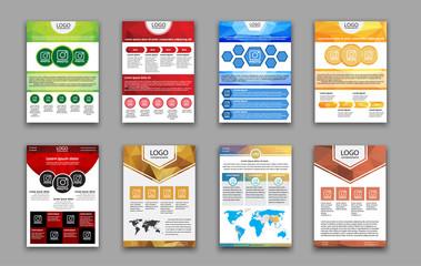 Set polygonal brochures and flyers