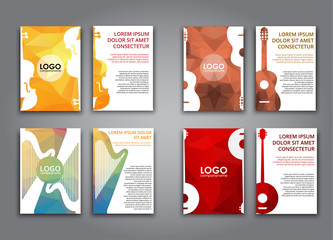 A set of brochures with polygonal musical instruments